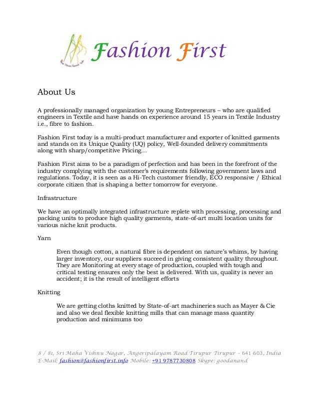 Fashion First Company Profile