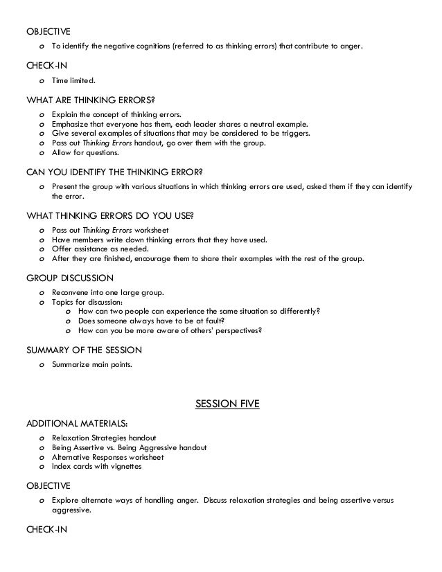 Thinking Errors Worksheet 4