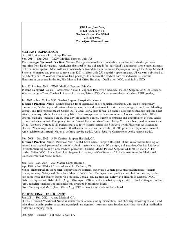 LVN Resume Revi 1. SSG Lee, Joon Yong 13121 Yockey St 427 Garden Grove, CA  92844 714  ...  Lvn Resume
