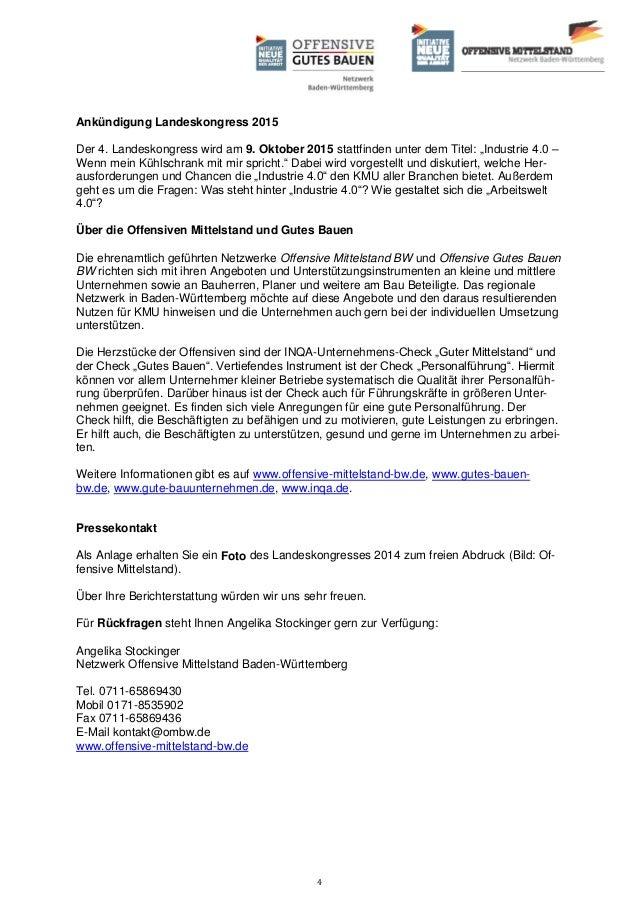 """4 Ankündigung Landeskongress 2015 Der 4. Landeskongress wird am 9. Oktober 2015 stattfinden unter dem Titel: """"Industrie 4...."""