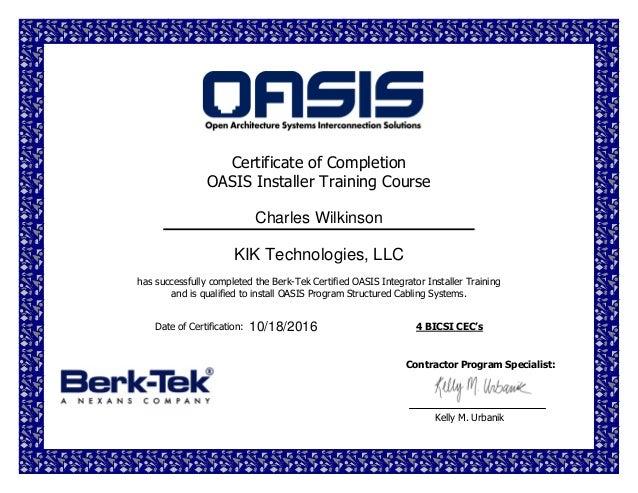Oasis Certificate