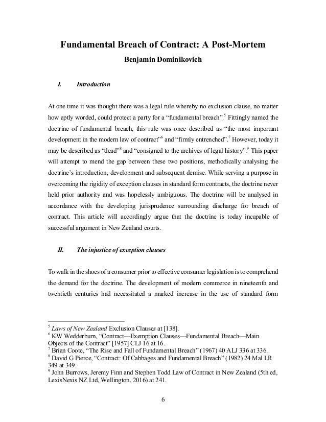 Contract law breach essay