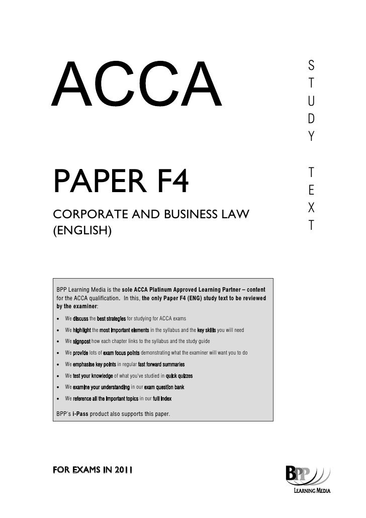 f4 corporate and business law study text bpp 2011 rh slideshare net business law study guide for funeral students business law study guide free