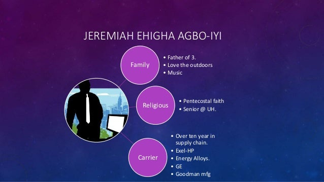JEREMIAH EHIGHA AGBO-IYI Family • Father of 3. • Love the outdoors • Music Religious • Pentecostal faith • Senior @ UH. Ca...