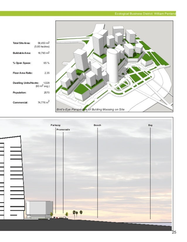 25 Parkway Beach Bay Promenade Ecological Business District: William Penland Bird's-Eye Perspective of Bulding Massing on ...