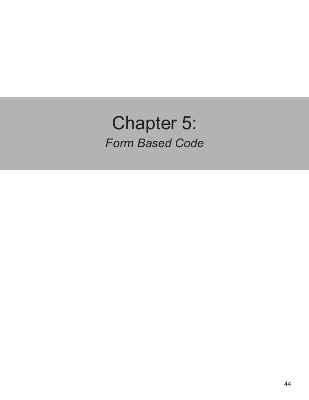 44 Chapter 5: Form Based Code