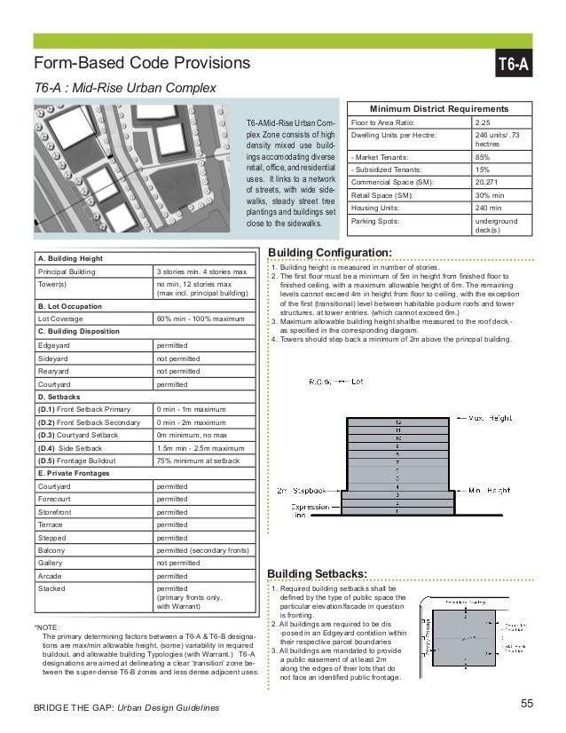 55BRIDGE THE GAP: Urban Design Guidelines Form-Based Code Provisions T6-A : Mid-Rise Urban Complex Minimum District Requir...
