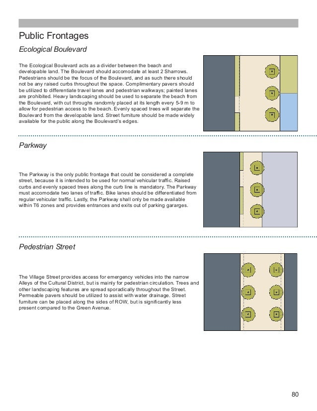 80 Public Frontages Ecological Boulevard The Ecological Boulevard acts as a divider between the beach and developable land...