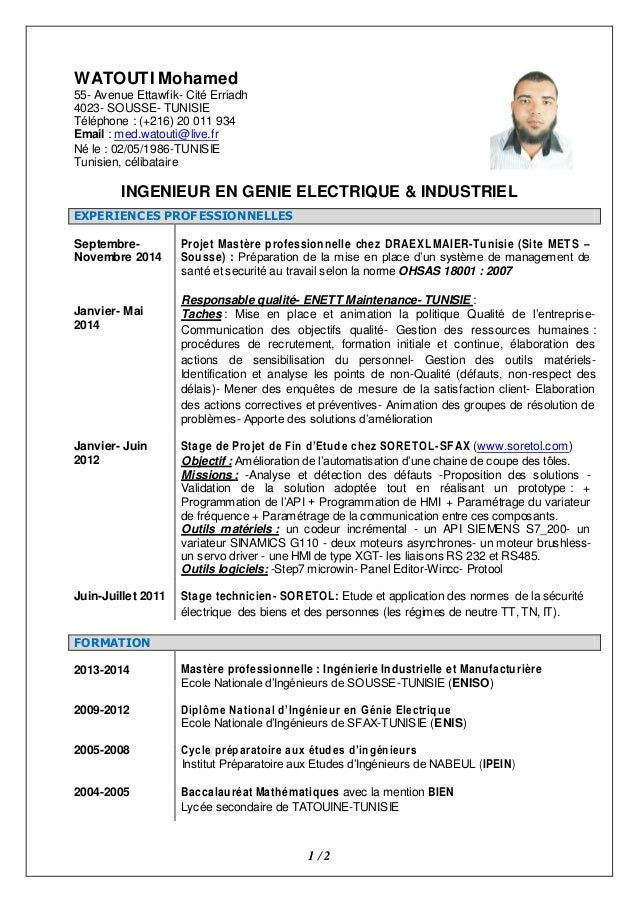 exemple de cv ingenieur systemes embarques