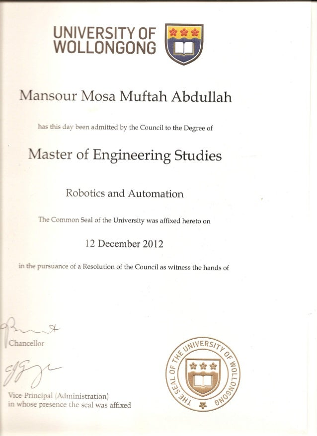 Master Degree Certificate Of Graduation