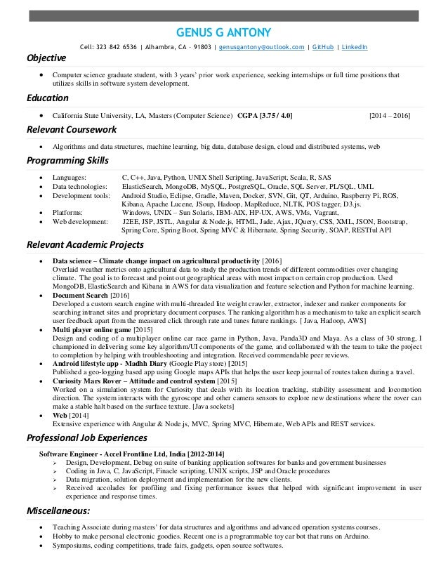 genus resume - Resume For Ms Computer Science