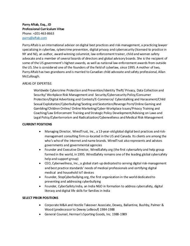 Parry Aftab, Esq., JD Professional Curriculum Vitae Phone: +201-463 ...