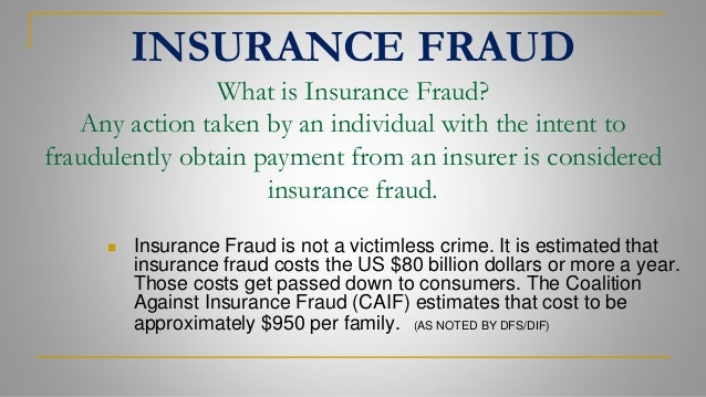 Coalition Against Insurance Fraud >> 1 INSURANCE FRAUD TRAINING PRESENTATION