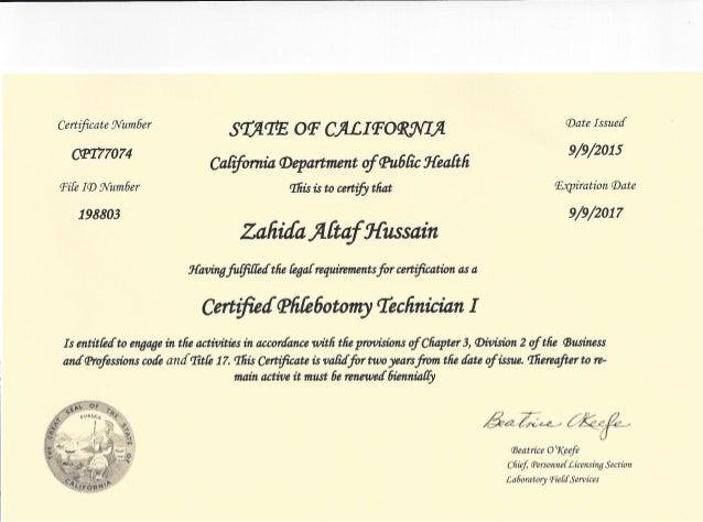Phlebotomy state license