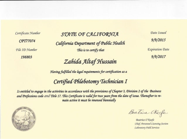 State Phlebotomy License