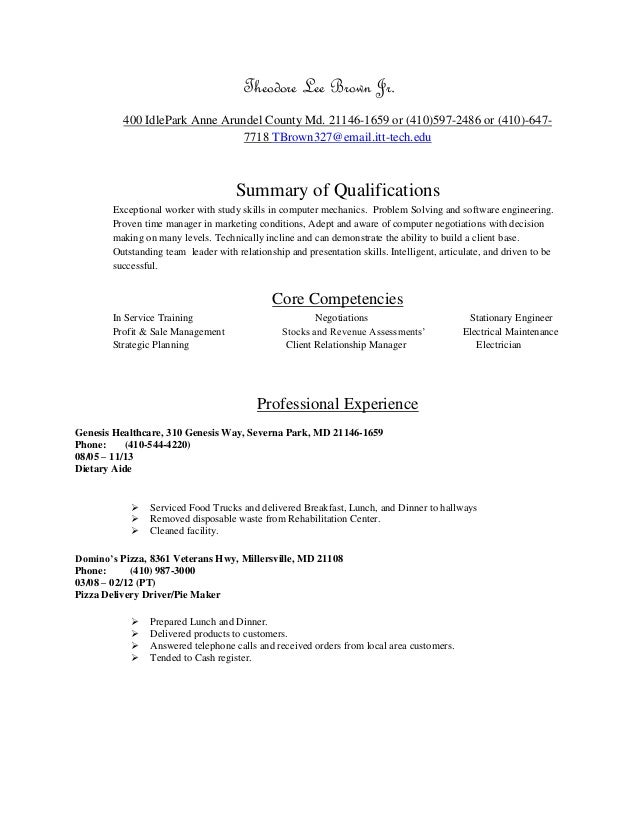 chronological resume for software engineering