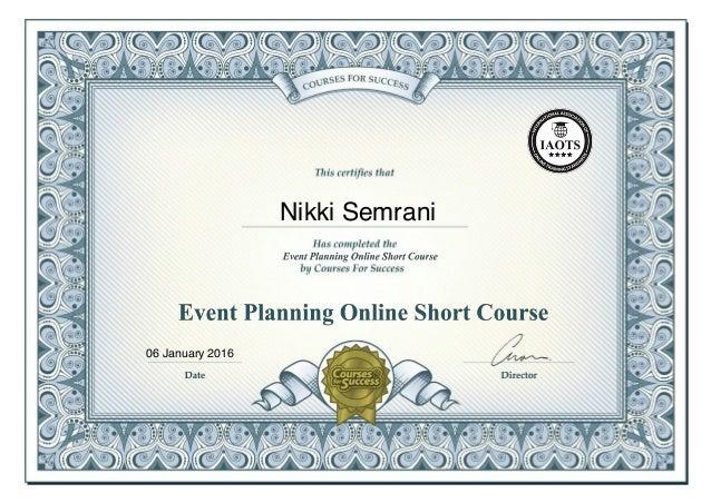 Event Planning Online Short Course Certificate - Nikki Semrani