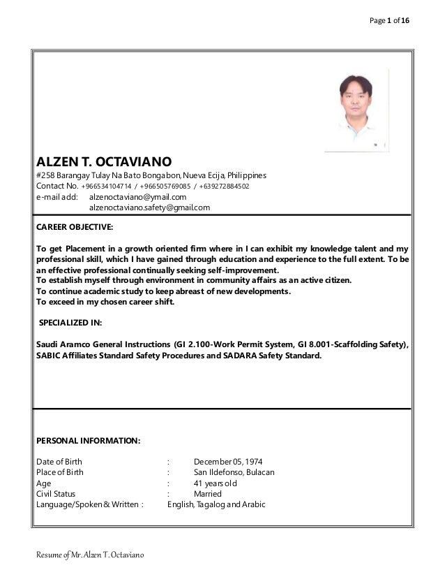 resume of mr alzen t octaviano