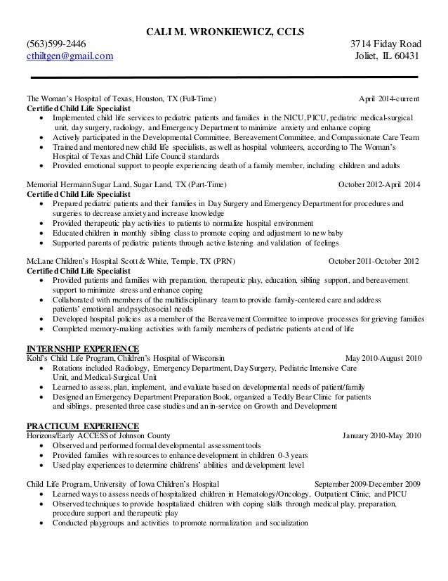 cali wronkiewicz child life resume