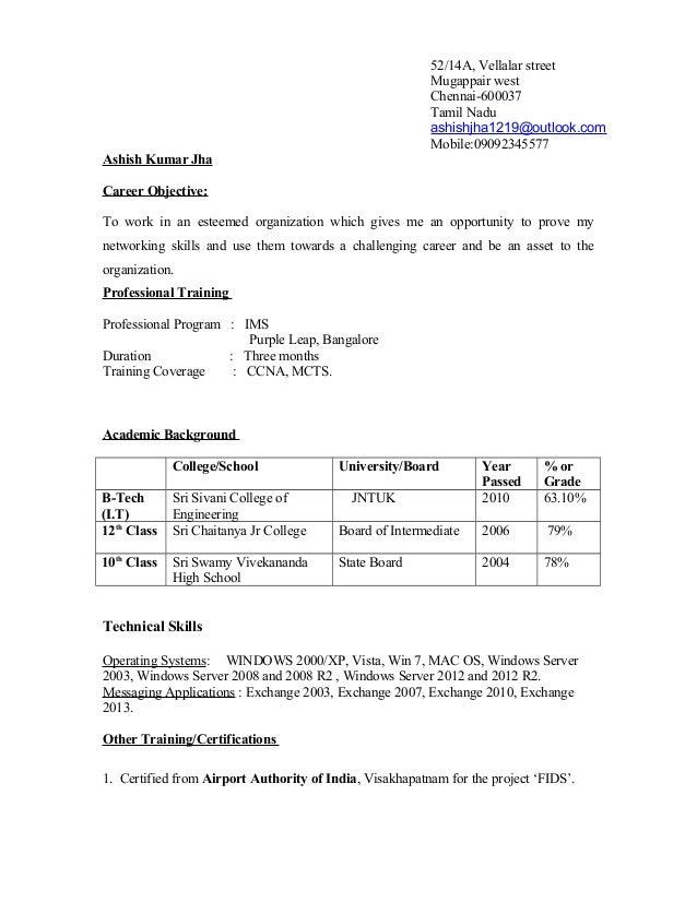 52/14A, Vellalar street Mugappair west Chennai-600037 Tamil Nadu ashishjha1219@outlook.com Mobile:09092345577 Ashish Kumar...