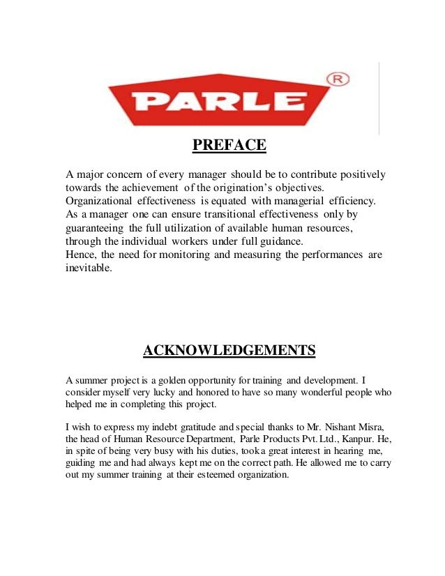 project report on parle g