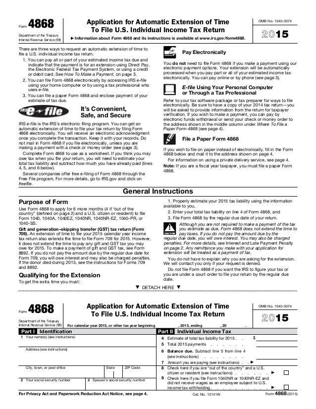 Form 4868 Department Of The Treasury Internal Revenue Service (99)  Application For Automatic Extension ...