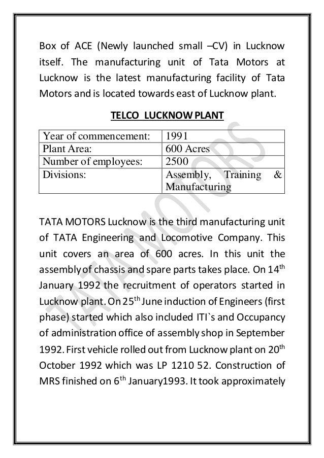 Project report for Tata motors recruitment process