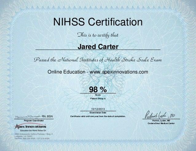 nihss certification stroke scale slideshare exam health national upcoming certify institutes carter