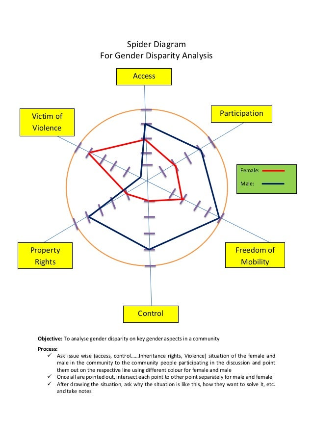 Spider diagram for gender analysis spider diagram for gender disparity analysis objective to analyse gender disparity on key gender aspects ccuart Image collections