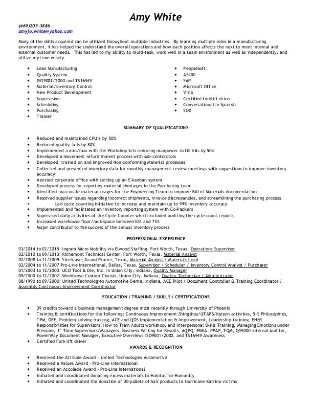 Amy Inventory Control Resume
