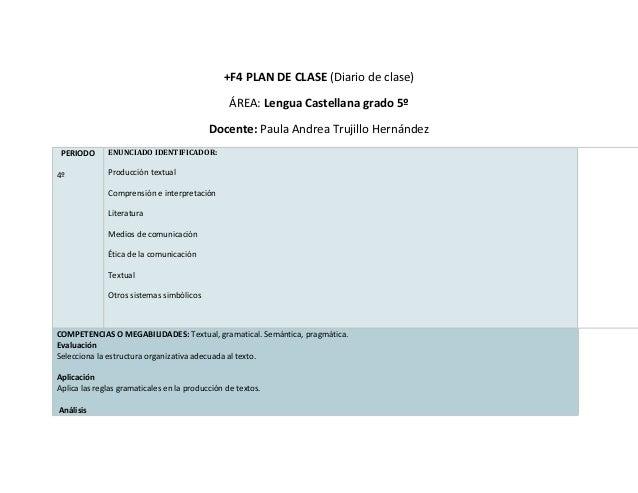 +F4 PLAN DE CLASE (Diario de clase)                                                 ÁREA: Lengua Castellana grado 5º      ...