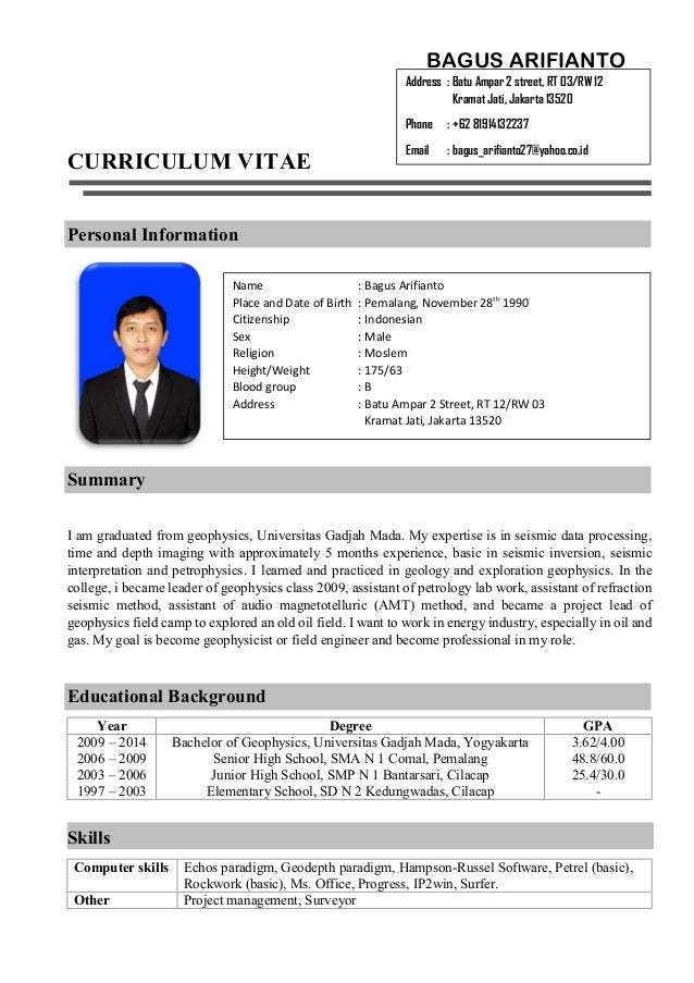 CURRICULUM VITAE Personal Information Summary I Am Graduated From  Geophysics, Universitas Gadjah Mada.