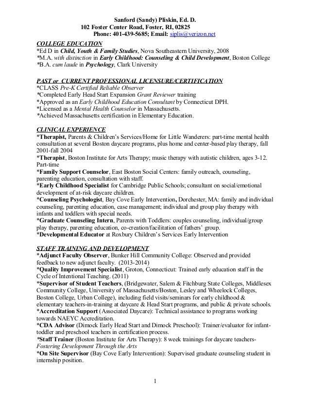 psychology education and training resume