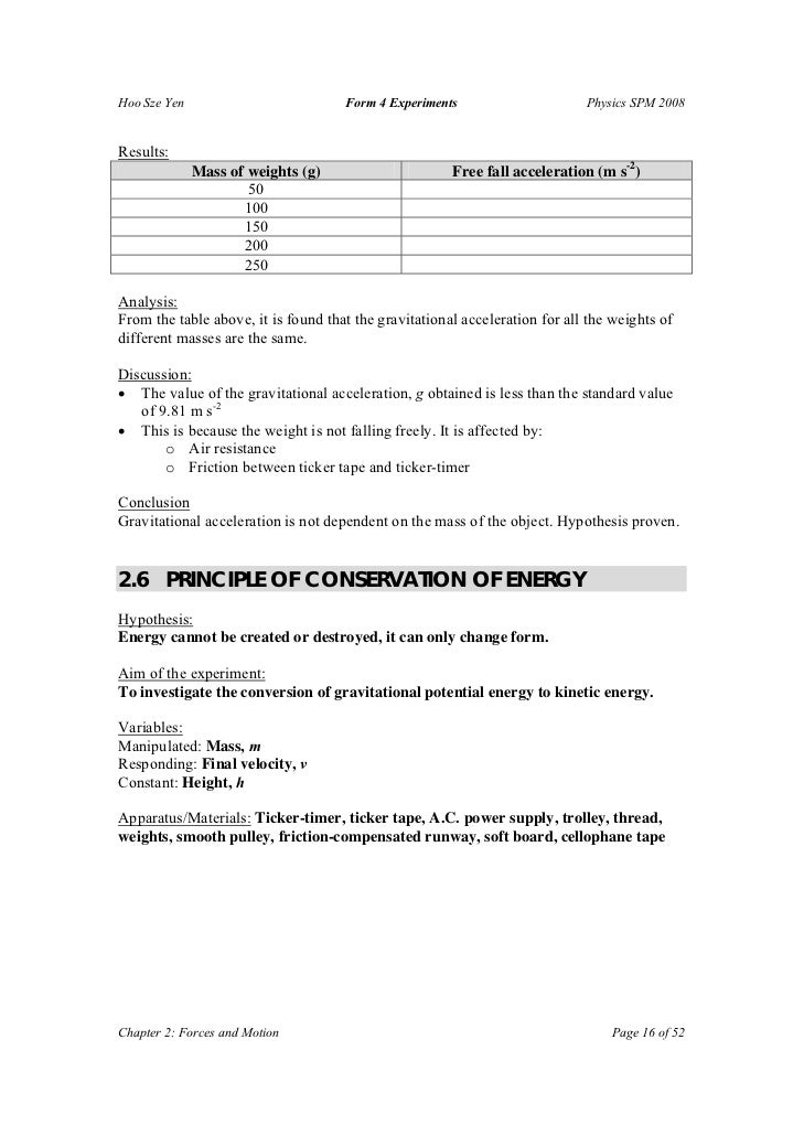 free fall experiment conclusion