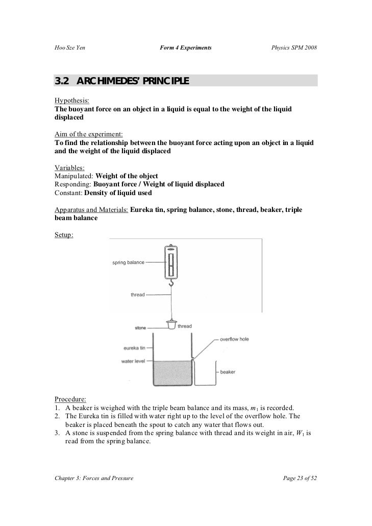 F4 Experiments – Archimedes Principle Worksheet