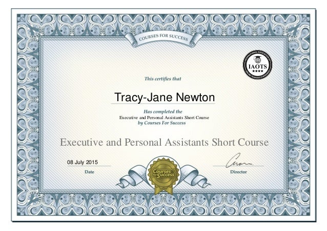 Executive and Personal Assistant Certificate - Tracy-Jane Newton
