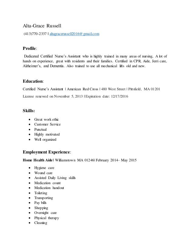 Altagrace Russell Resume