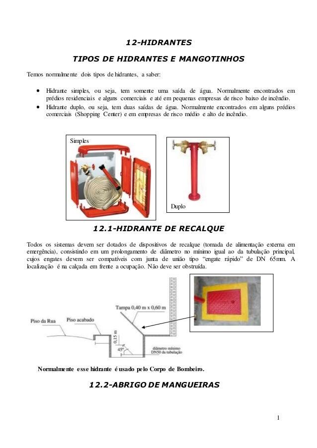 1 12-HIDRANTES TIPOS DE HIDRANTES E MANGOTINHOS Temos normalmente dois tipos de hidrantes, a saber:  Hidrante simples, ou...