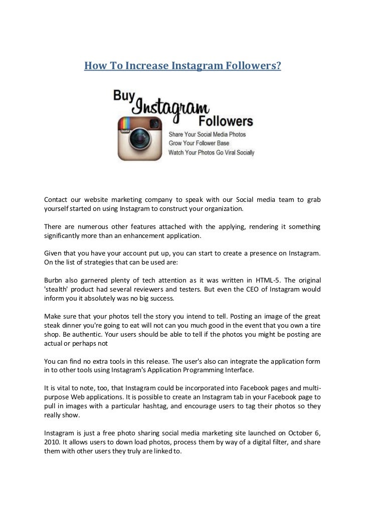 How To Increase Instagram Followers?Contact our website marketing company to speak with our Social media team to grabyours...