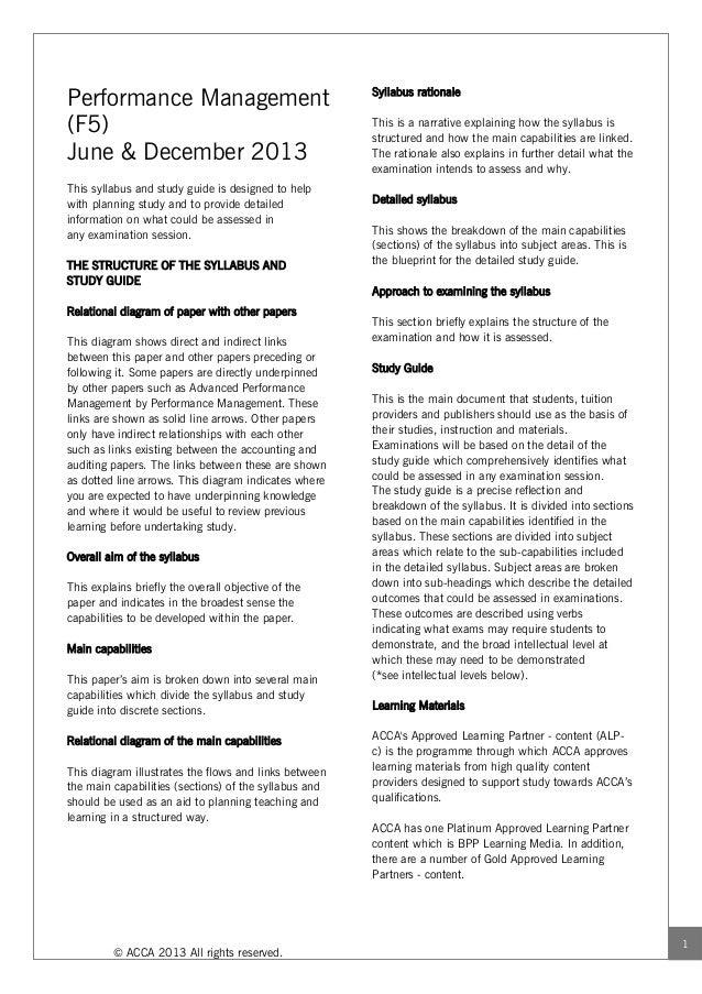 Performance Management                                 Syllabus rationale(F5)                                             ...