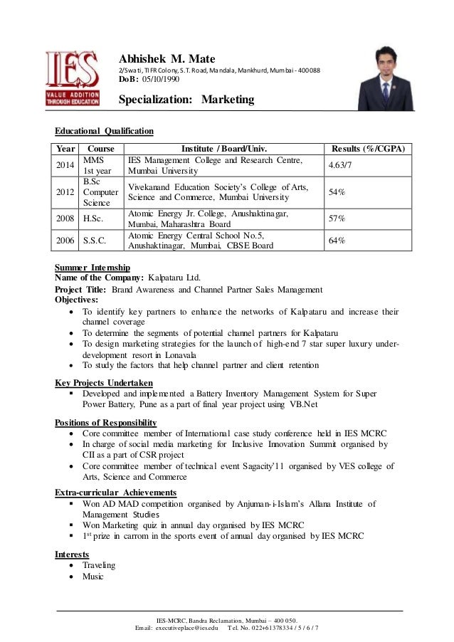 example of biodata for students