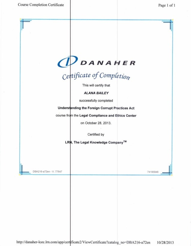 5 Danaher Certificates Of Completion