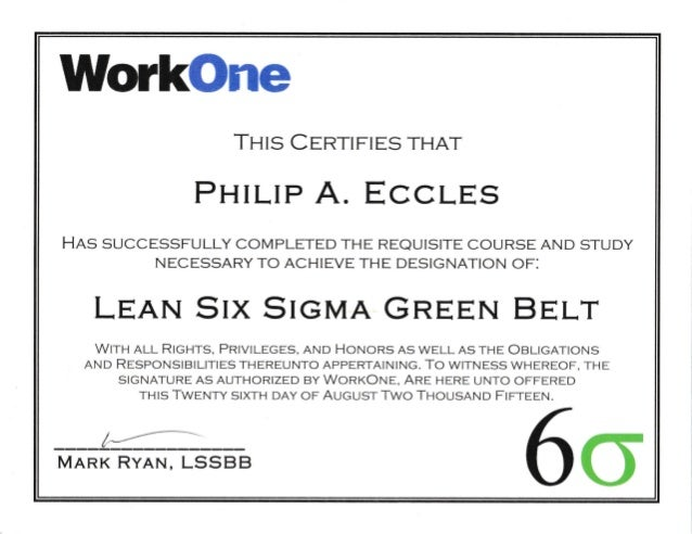 Lean Six Sigma Green Belt Certificate