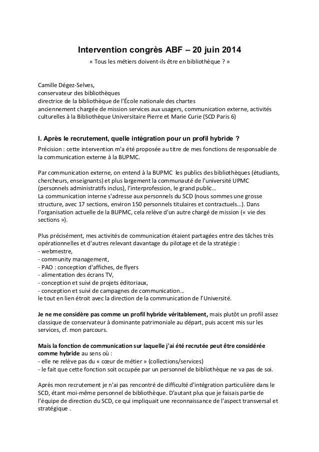 Intervention congrès ABF – 20 juin 2014 « Tous les métiers doivent-ils être en bibliothèque ? » Camille Dégez-Selves, cons...