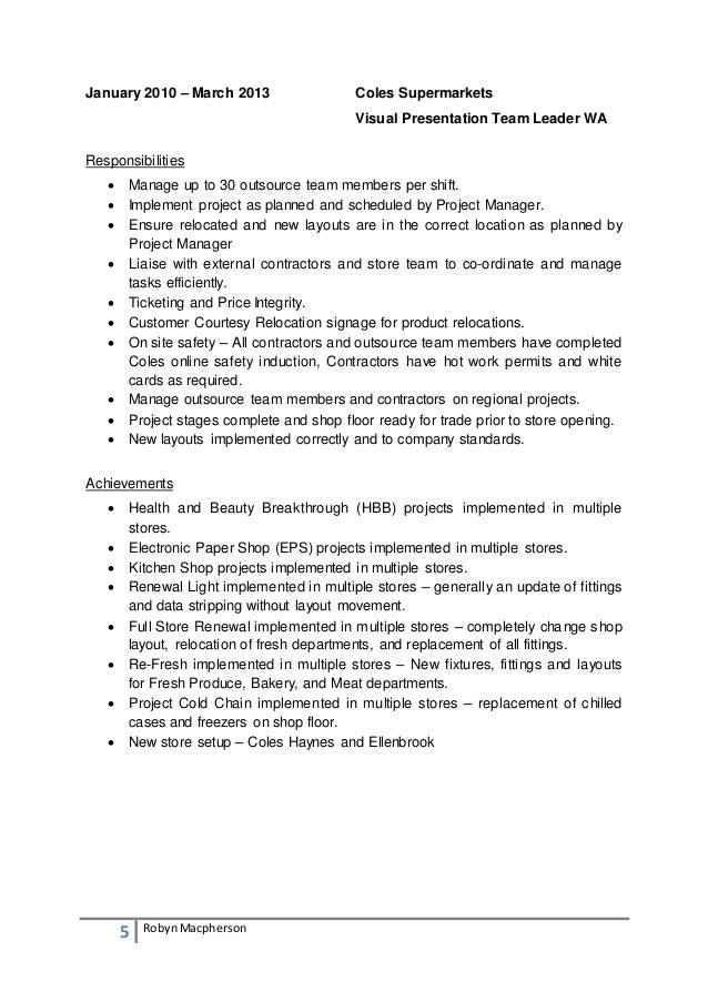 Coles Online Resume Talktomartyb