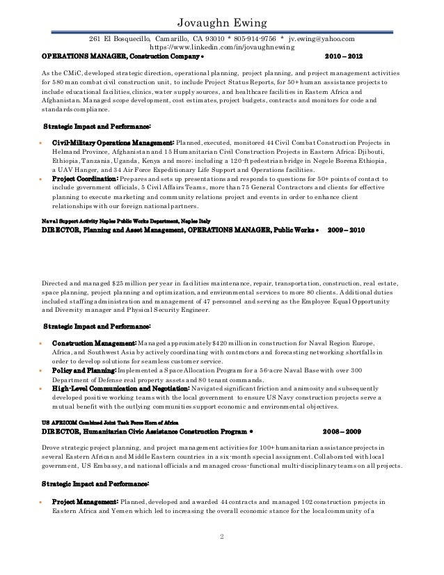J Ewing Project Manager III Resume