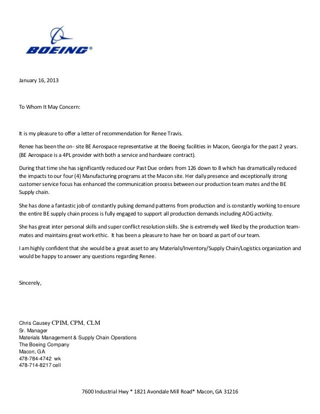 Boeing Letter Of Reccommendation