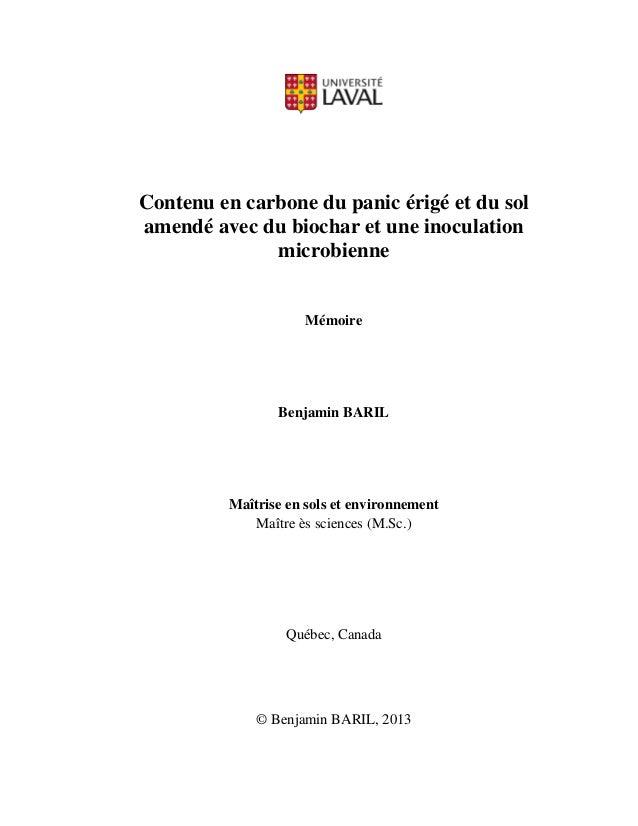 Contenu en carbone du panic érigé et du sol amendé avec du biochar et une inoculation microbienne Mémoire Benjamin BARIL M...