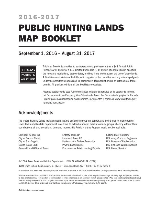 TX Public Hunting Lands Booklet 16-17