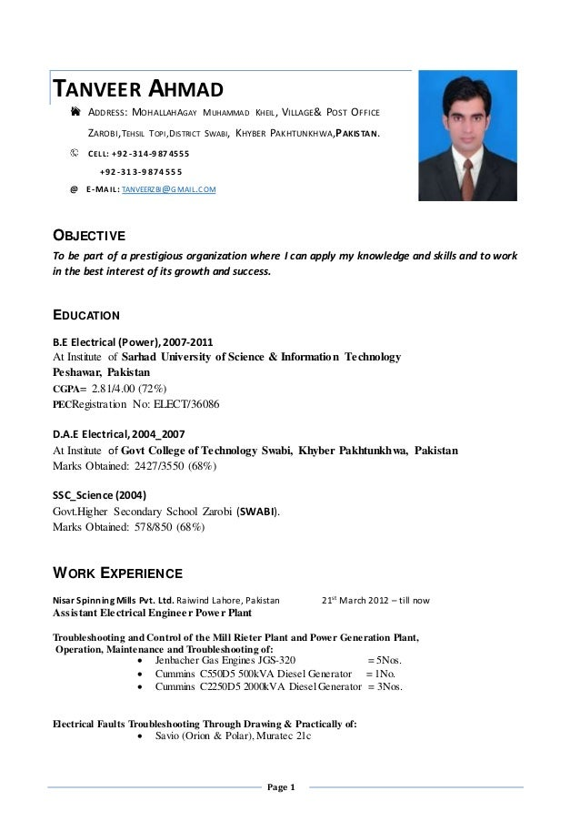tanveer resume  electrical engineer power